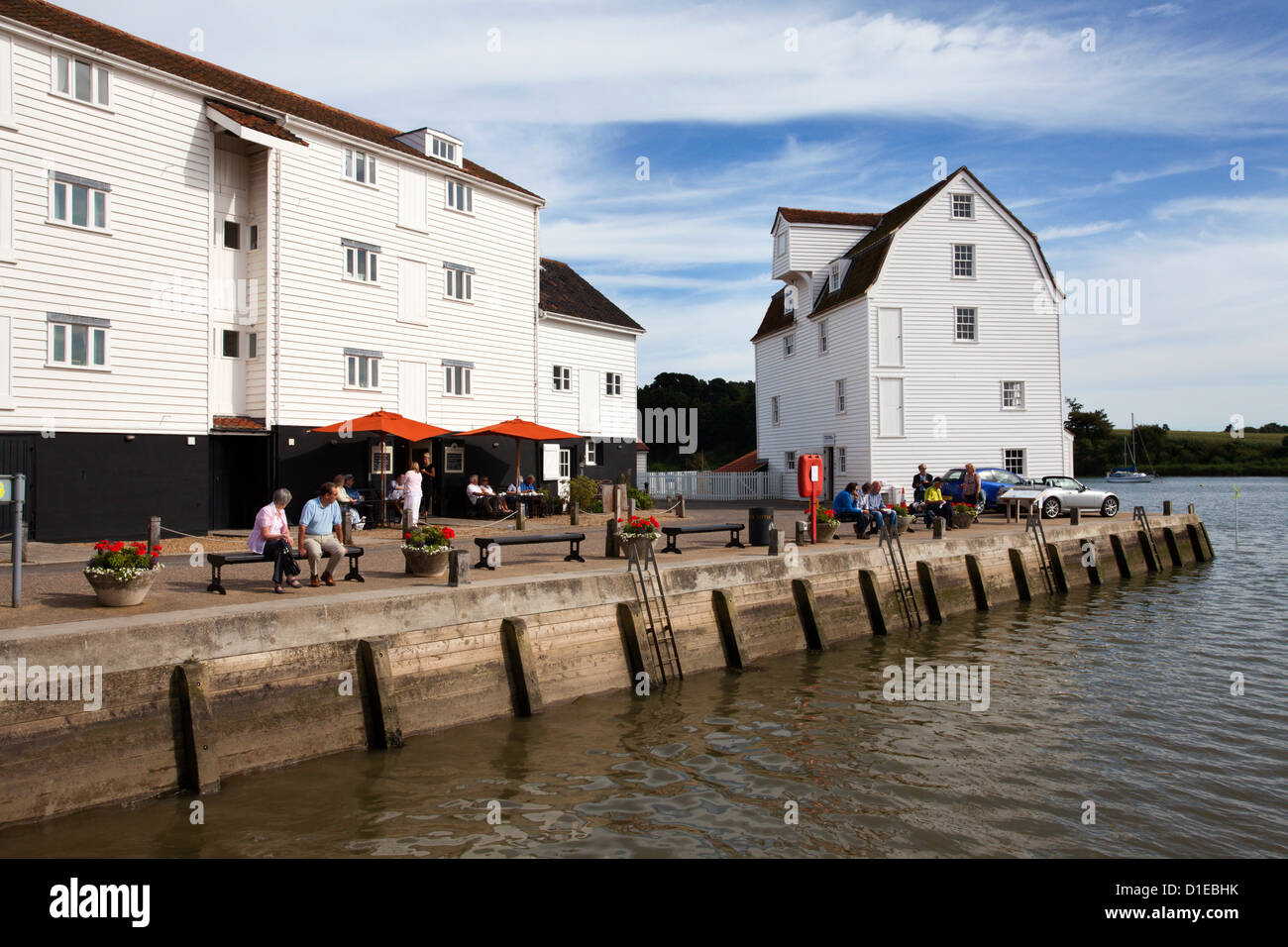 Quayside and the Tide Mill Living Museum at Woodbridge Riverside, Woodbridge, Suffolk, England, United Kingdom, - Stock Image