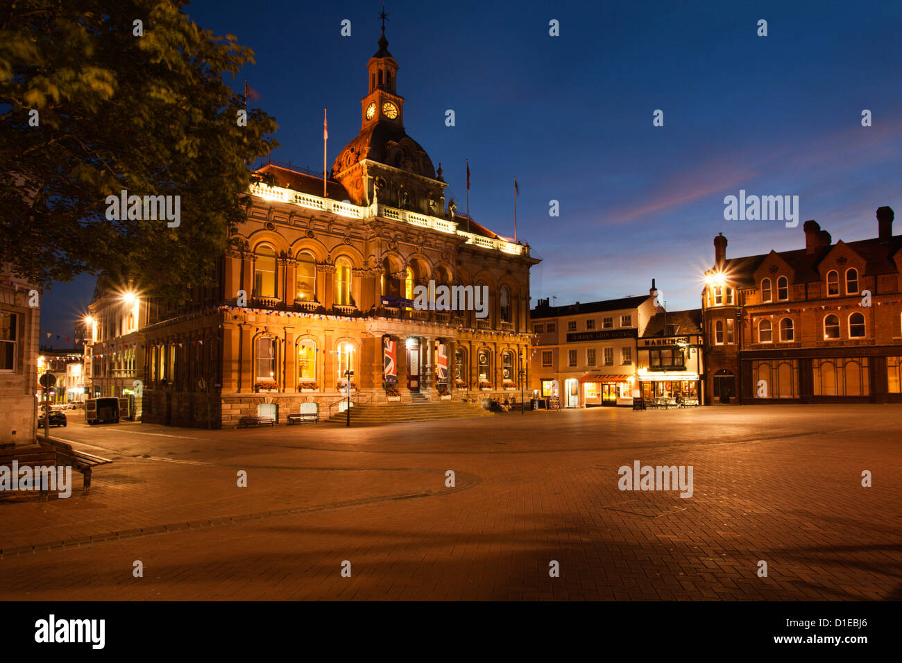The Town Hall at dusk, Ipswich, Suffolk, England, United Kingdom, Europe - Stock Image