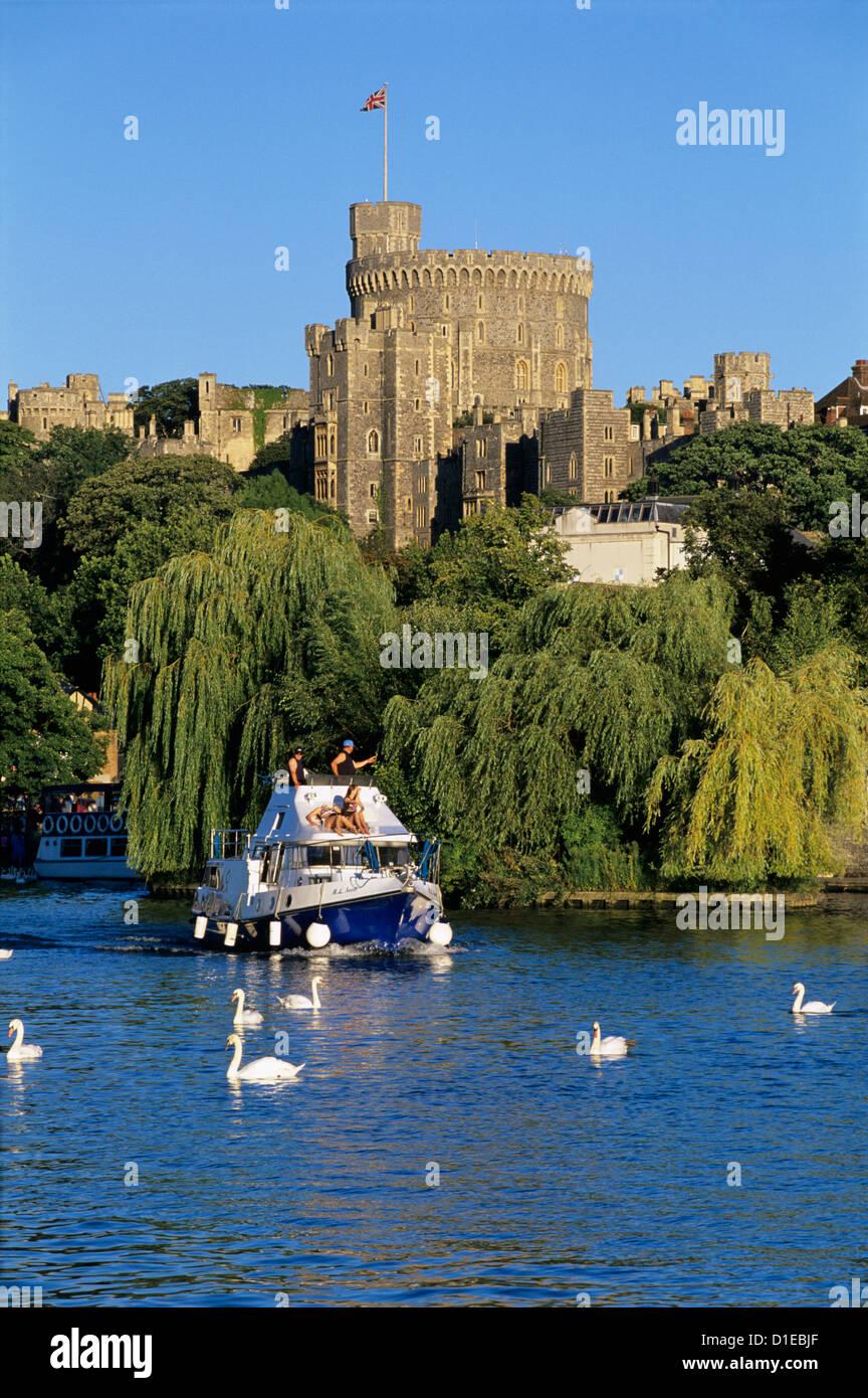 Windsor Castle and River Thames, Windsor, Berkshire, England, United Kingdom, Europe - Stock Image