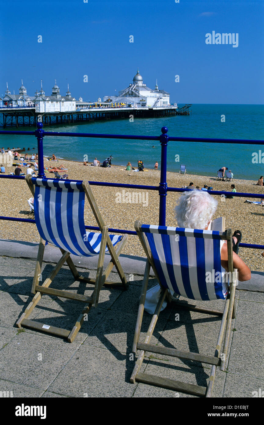 Sea front and Pier, Eastbourne, East Sussex, England, United Kingdom, Europe - Stock Image