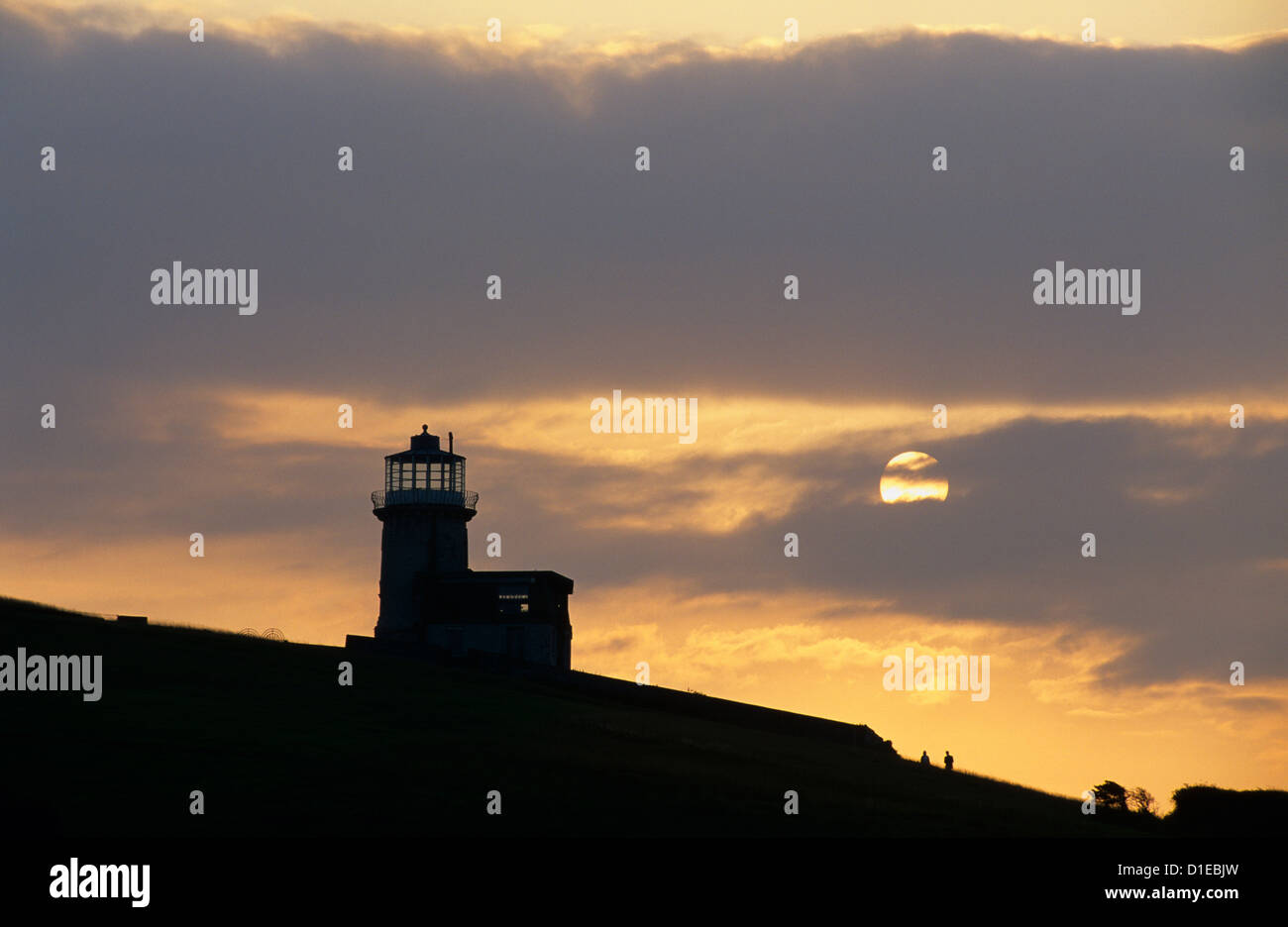Belle Tout lighthouse on cliffs at sunset, near Birling Gap, East Sussex, England, United Kingdom, Europe - Stock Image