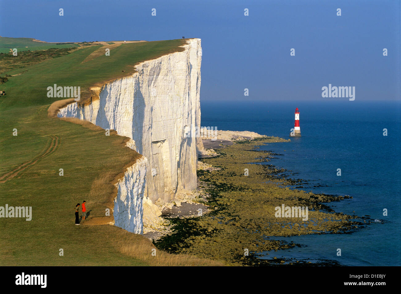 Beachy Head Lighthouse and chalk cliffs, Eastbourne, East Sussex, England, United Kingdom, Europe - Stock Image