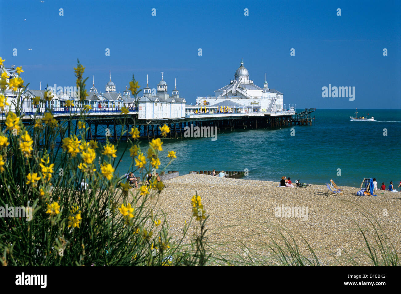 View over beach and pier, Eastbourne, East Sussex, England, United Kingdom, Europe - Stock Image