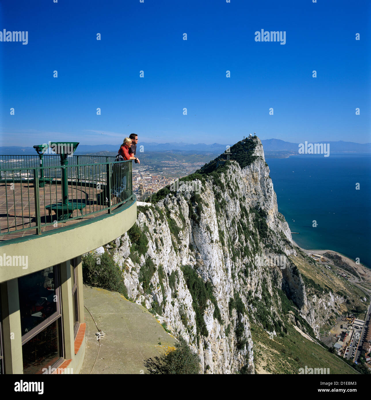 View over The Rock from Top of the Rock, Gibraltar, British Overseas Territory, Mediterranean, Europe - Stock Image