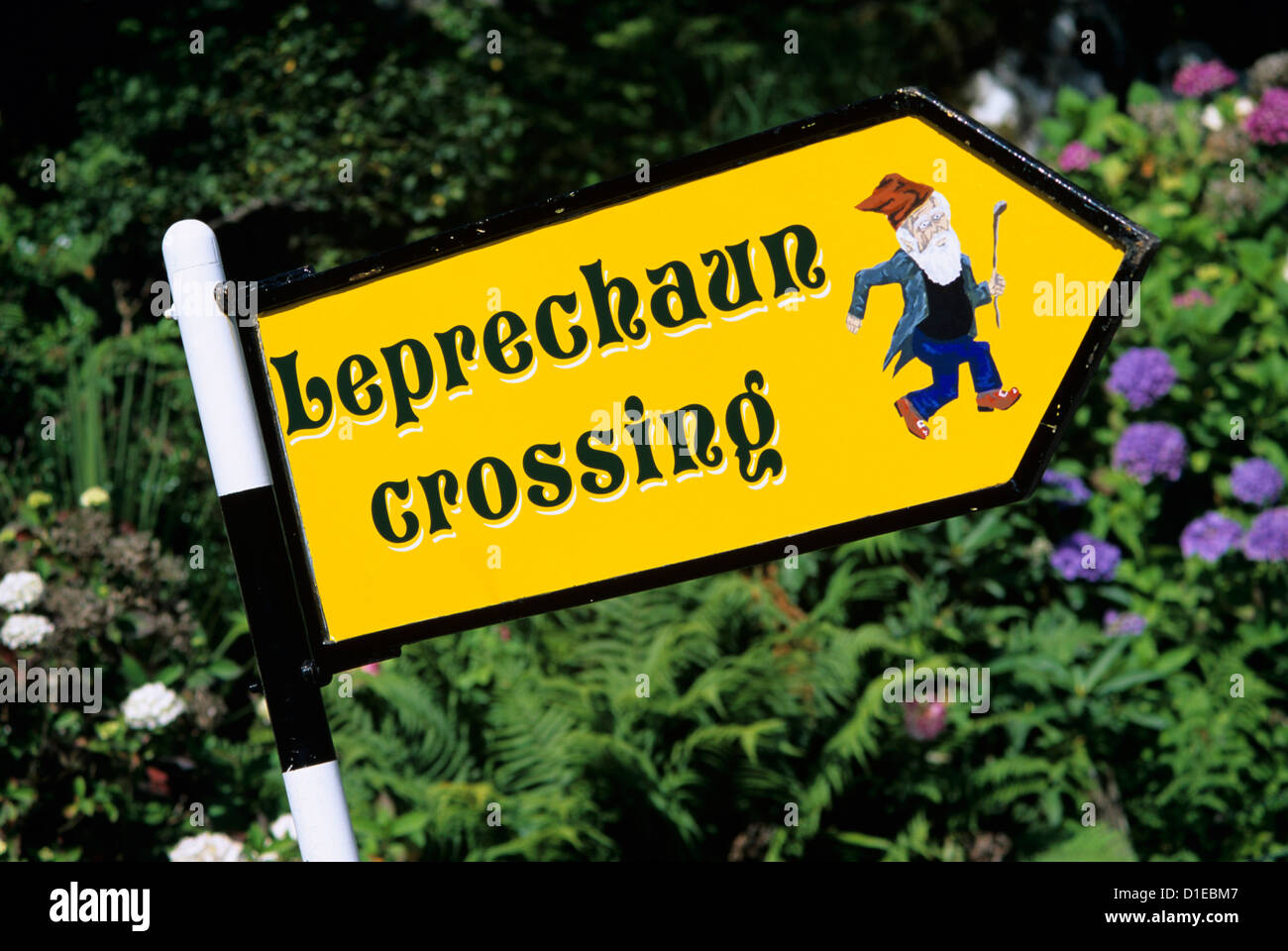 Leprechaun crossing signpost, County Kerry, Munster, Republic of Ireland, Europe - Stock Image