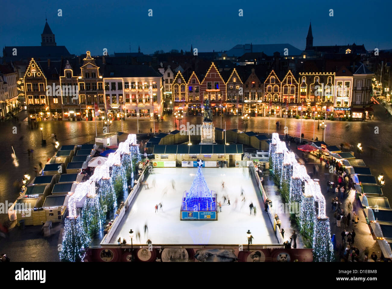 Bruges Christmas Market.Ice Rink And Christmas Market In The Market Square Bruges