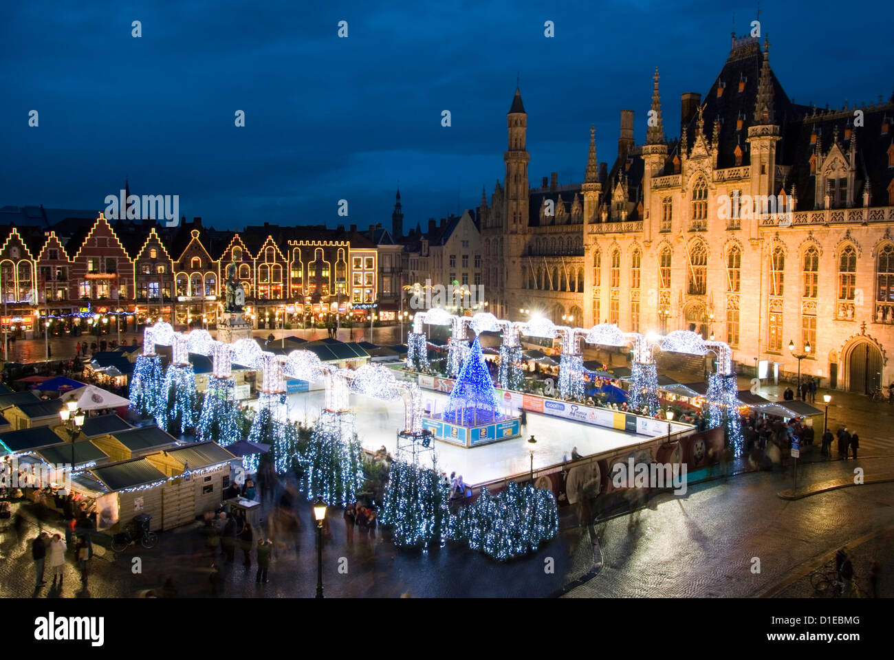 Bruges Christmas.Ice Rink And Christmas Market In The Market Square Bruges