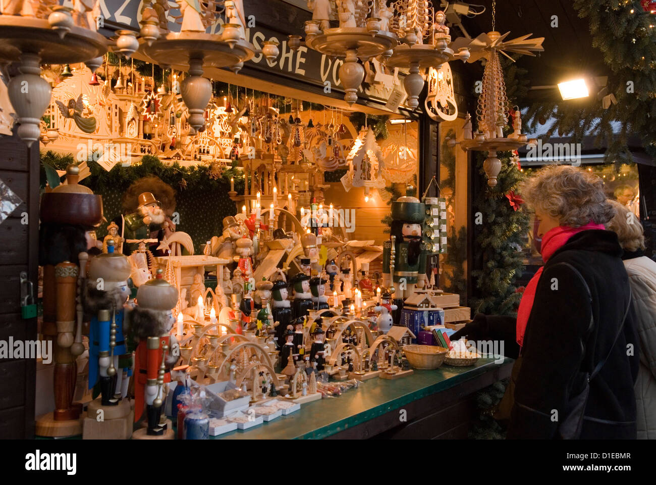 traditional german wooden christmas decorations berlin germany europe stock image - Traditional German Christmas Decorations