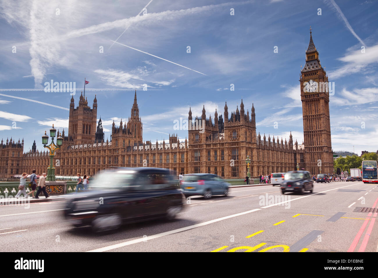 Westminster Bridge and the Houses of Parliament, Westminster, London, England, United Kingdom, Europe - Stock Image