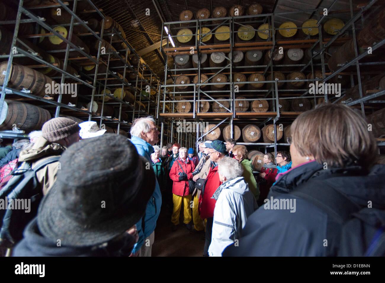 Jura whisky distillery barrel storage, Jura Island, Inner Hebrides, Scotland, United Kingdom, Europe - Stock Image