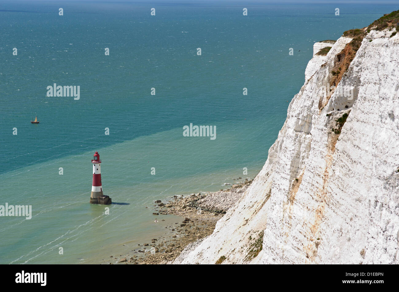 Beach Head Lighthouse, near Eastbourne, East Sussex, England, United Kingdom, Europe - Stock Image