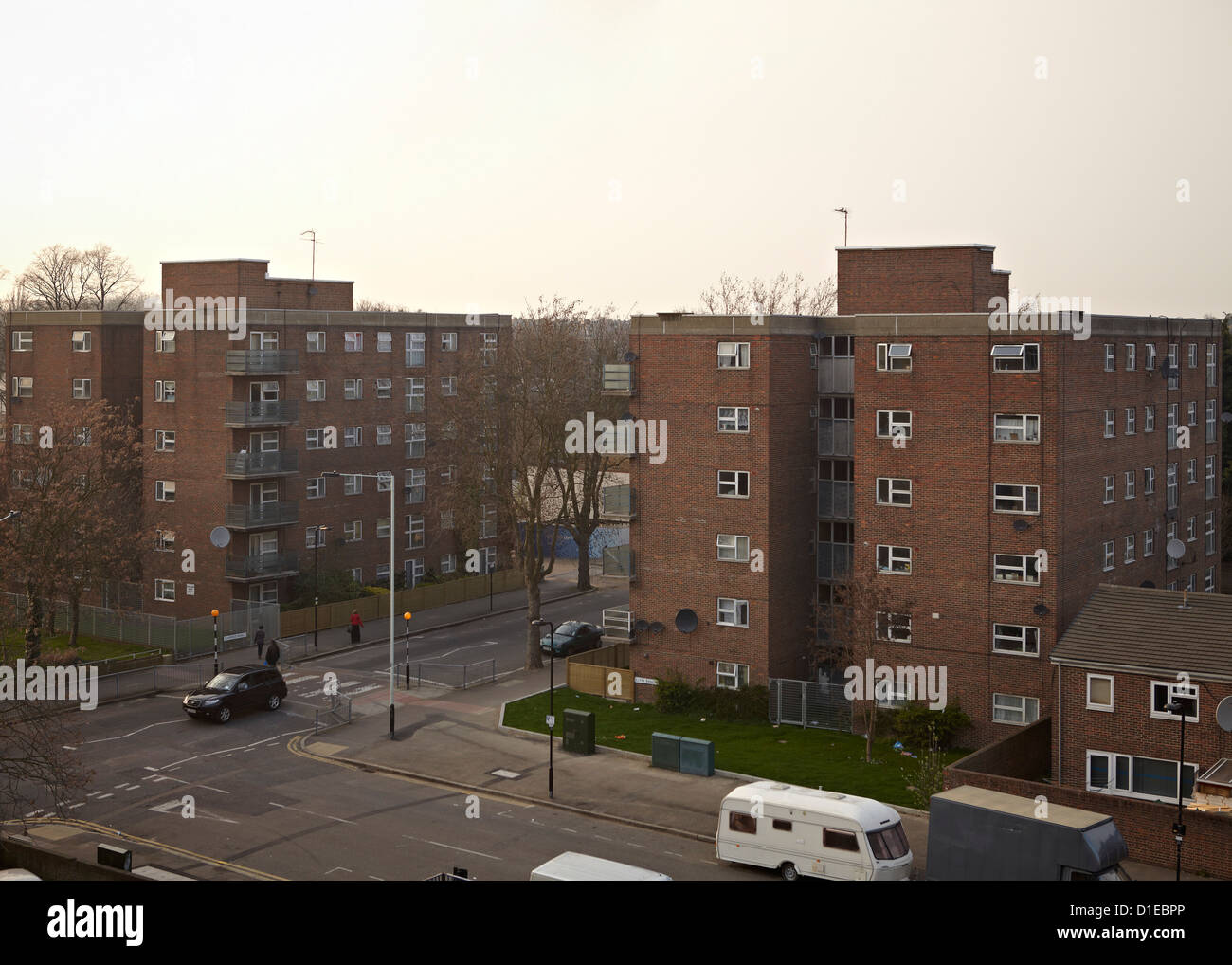 Council owned tower blocks, Lawrence Road, London N15, England, United Kingdom, Europe - Stock Image