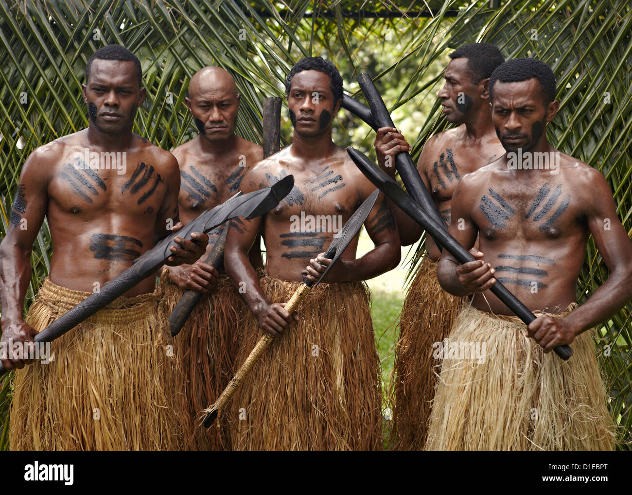 Authentic Fiji natives, First Landing Resort, Nalamu Beach, Vuda Point, Fiji, Pacific Islands, Pacific - Stock Image