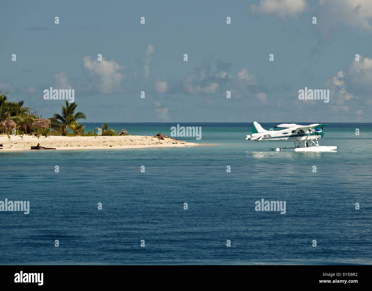 Boat plane off West coast of Viti Levu, Fiji, Pacific Islands, Pacific - Stock Image