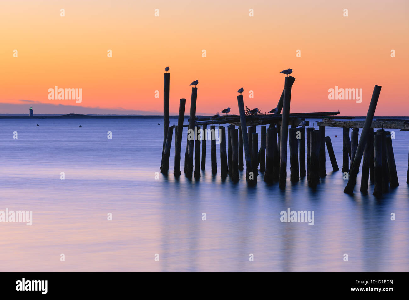Sunrise over the old jety in Provincetown on the north of Cape Cod, Massachusetts Stock Photo