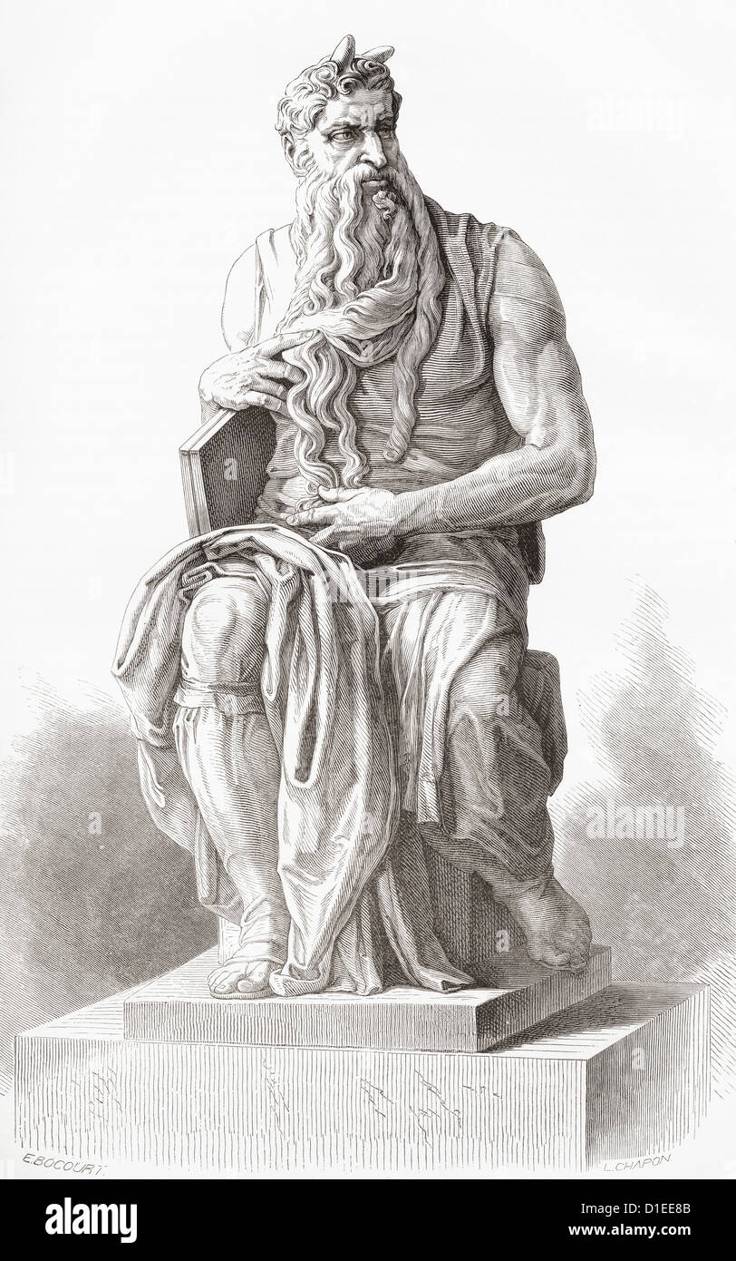 Moses, c. 1513–1515. Sculpture by the Italian High Renaissance artist Michelangelo Buonarroti. - Stock Image