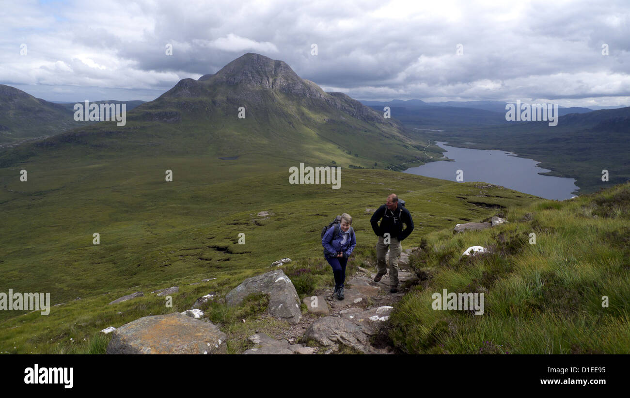 Cul Beag viewed from Stac Pollaidh, Highlands, Scotland. - Stock Image