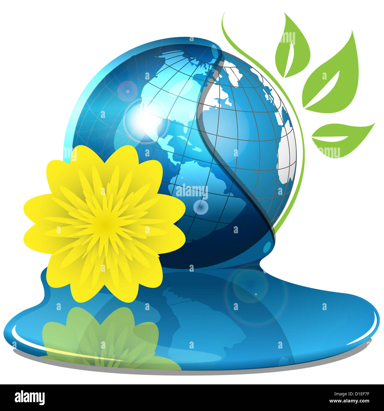 vector drawing globe in water and yellow flower - Stock Image