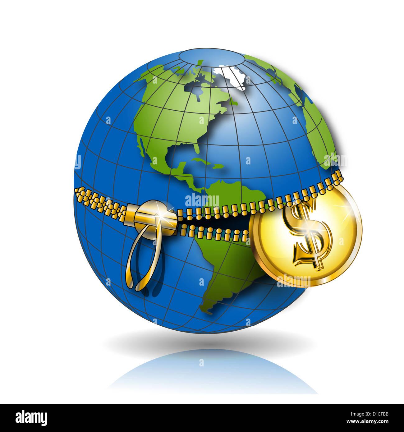 Illustration, Globe Revealled On Equator With Dollar