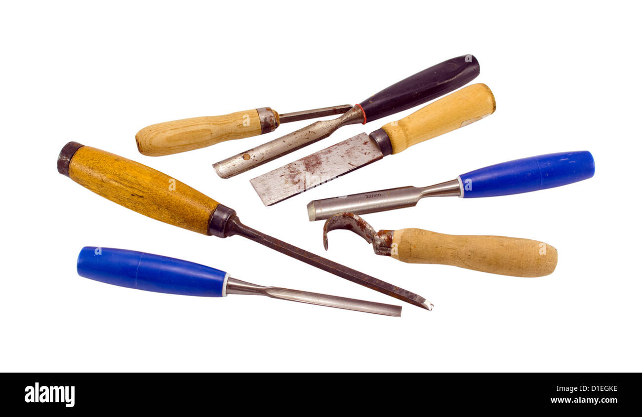 chisel graver carve tools collection for wood work isolated on white background Stock Photo