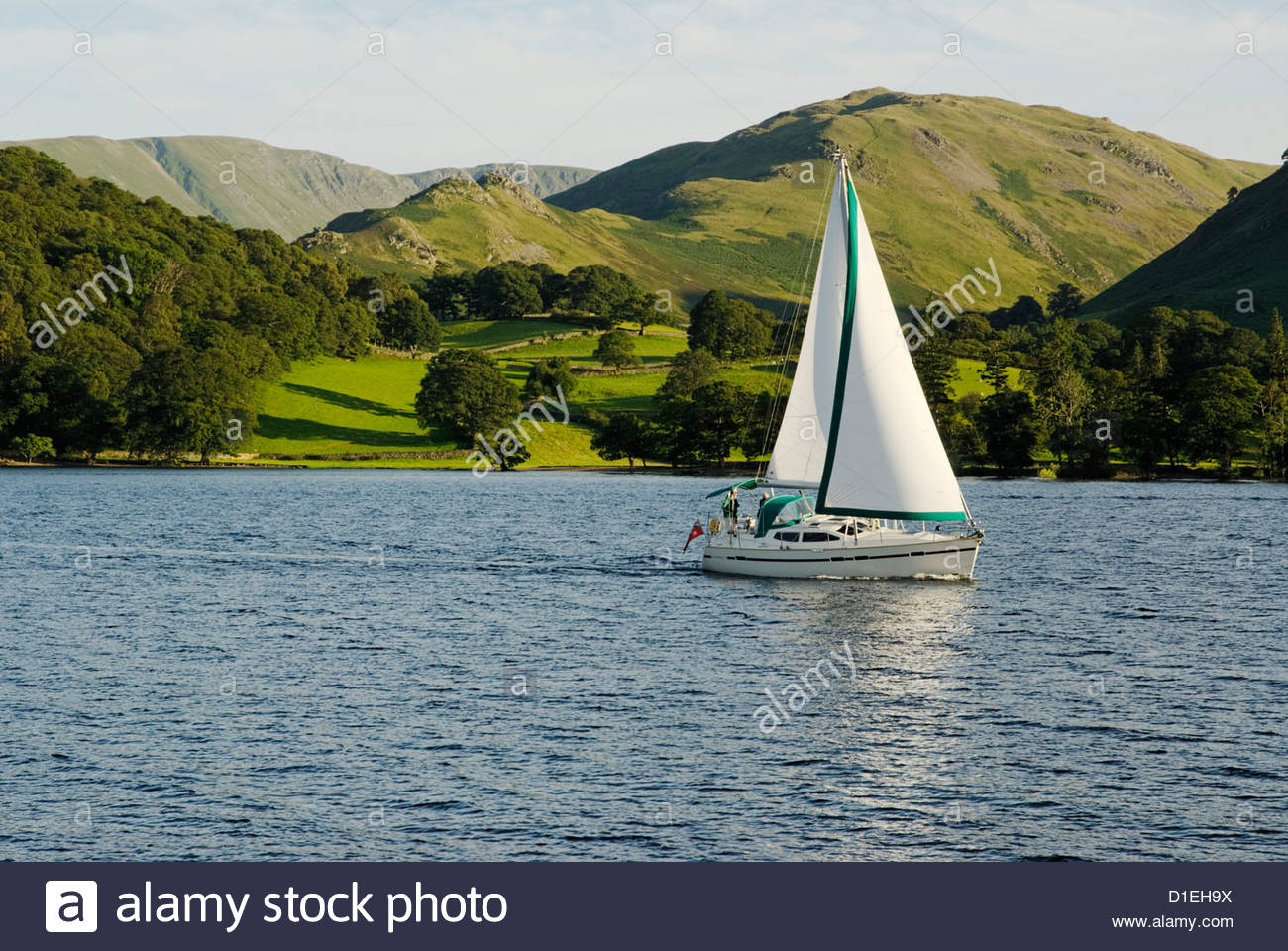 sailing boat on Ullswater in the Lake District Stock Photo