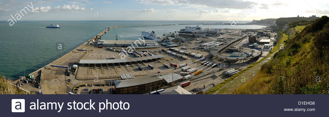 panorama view of Eastern Docks of Port of Dover, England Stock Photo