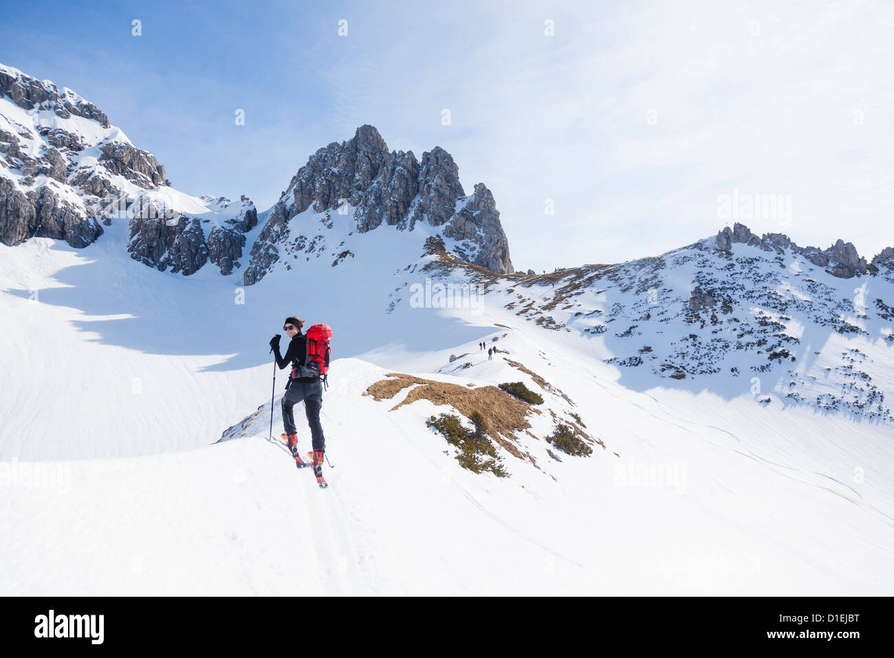 Young woman ski mountaineering at the Gosaukamm, Tennengau, Austria Stock Photo
