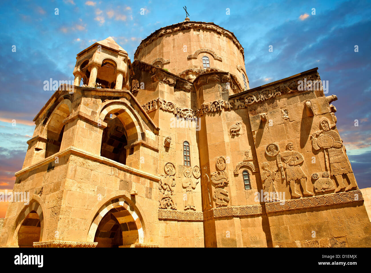 10th century Armenian Orthodox Cathedral of the Holy Cross on Akdamar Island, Lake Van Turkey - Stock Image