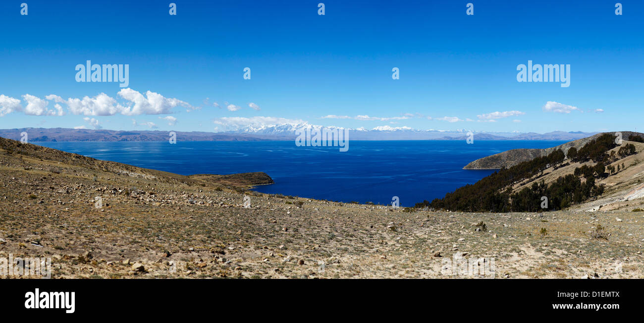 Titcaca lake and Cordillera Real, Bolivia, South America, America - Stock Image