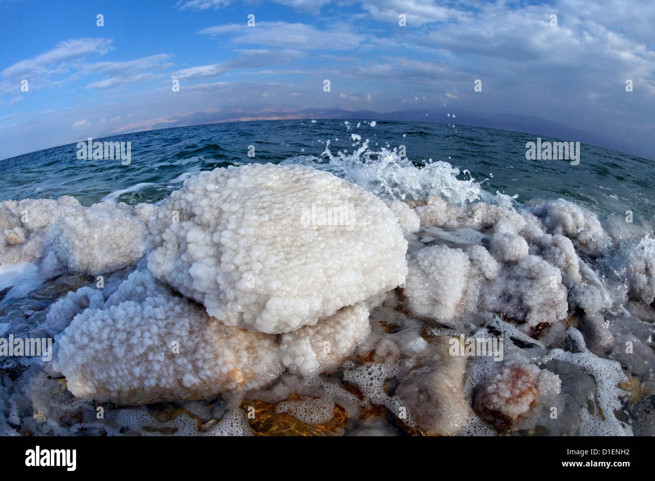 Salt crystal formations in the Dead Sea, Israel - Stock Image