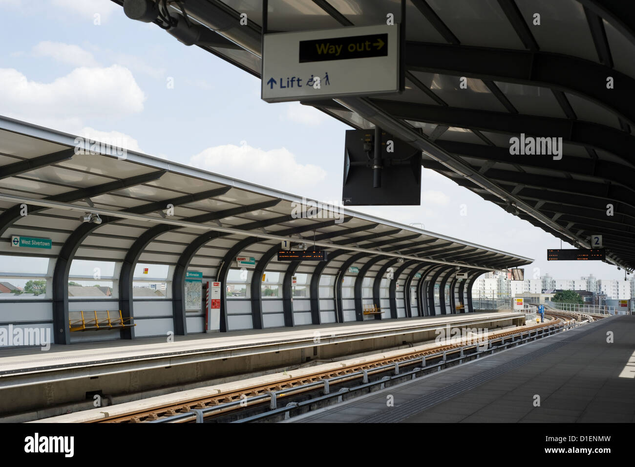 West Silvertown station on the Docklands Light Railway in East London, England, UK - Stock Image