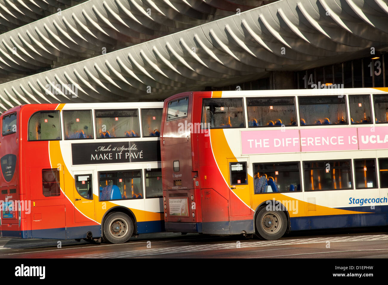 Central Terminus Preston Bus Station, and parked buses at Tithebarn St, Preston , Lancashire, UK,  which has been - Stock Image