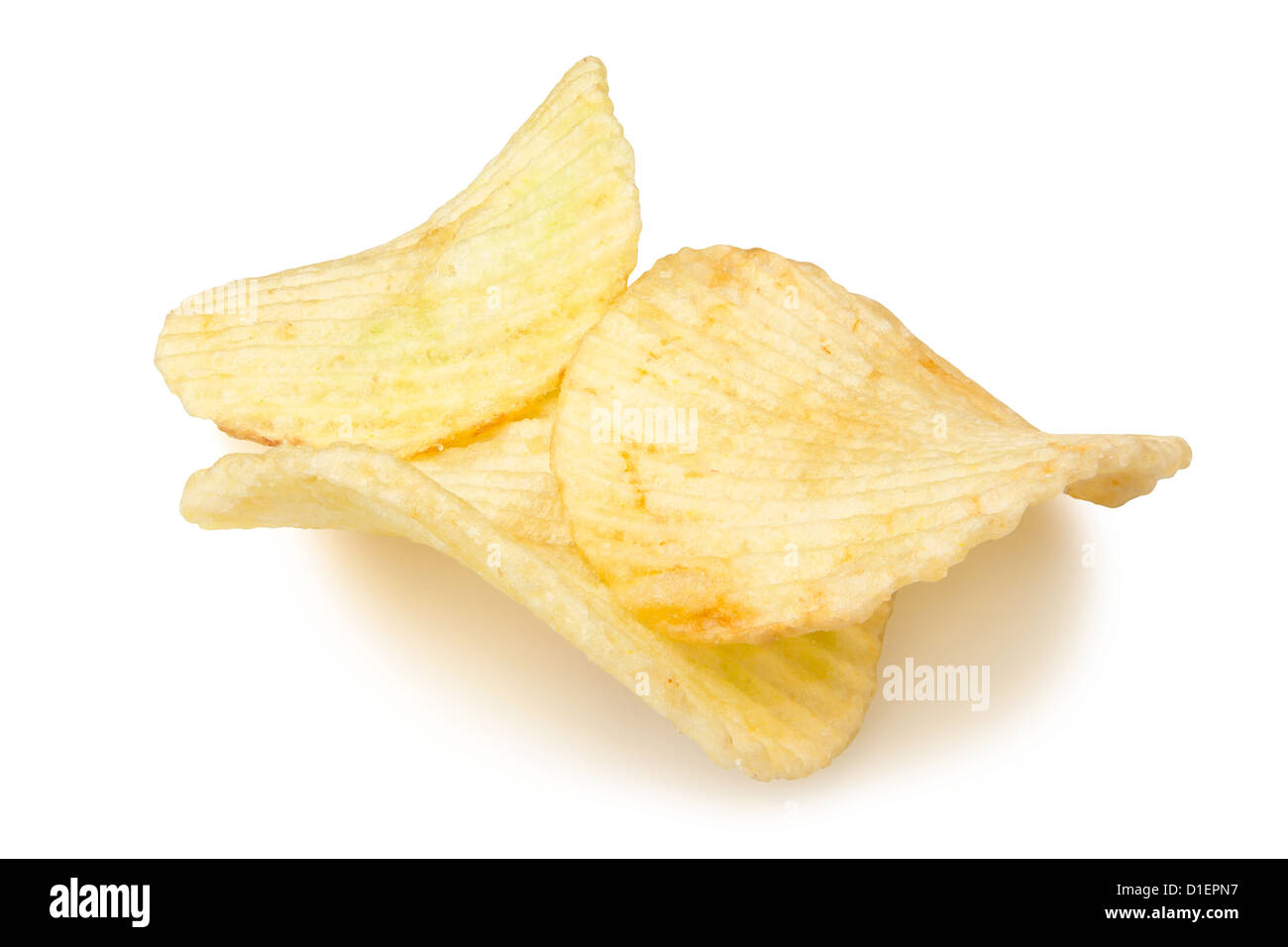 chips three on white background Stock Photo