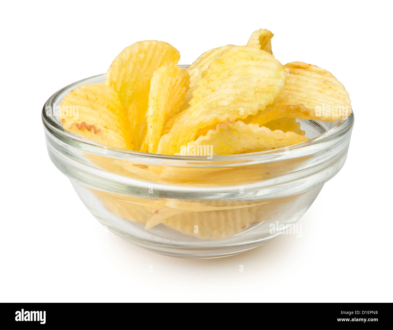 chips bowl on white background - Stock Image