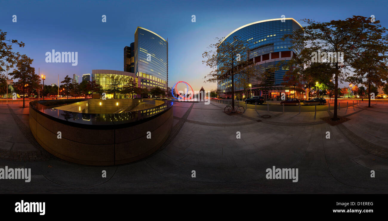 High-rise buidlings Kastor and Pollux at the blue hour, Frankfurt am Main, Germany - Stock Image