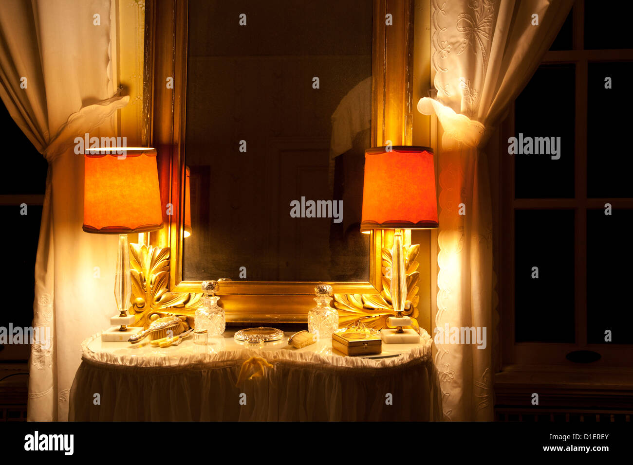 Dressing Table with Lights and Curtains - Stock Image