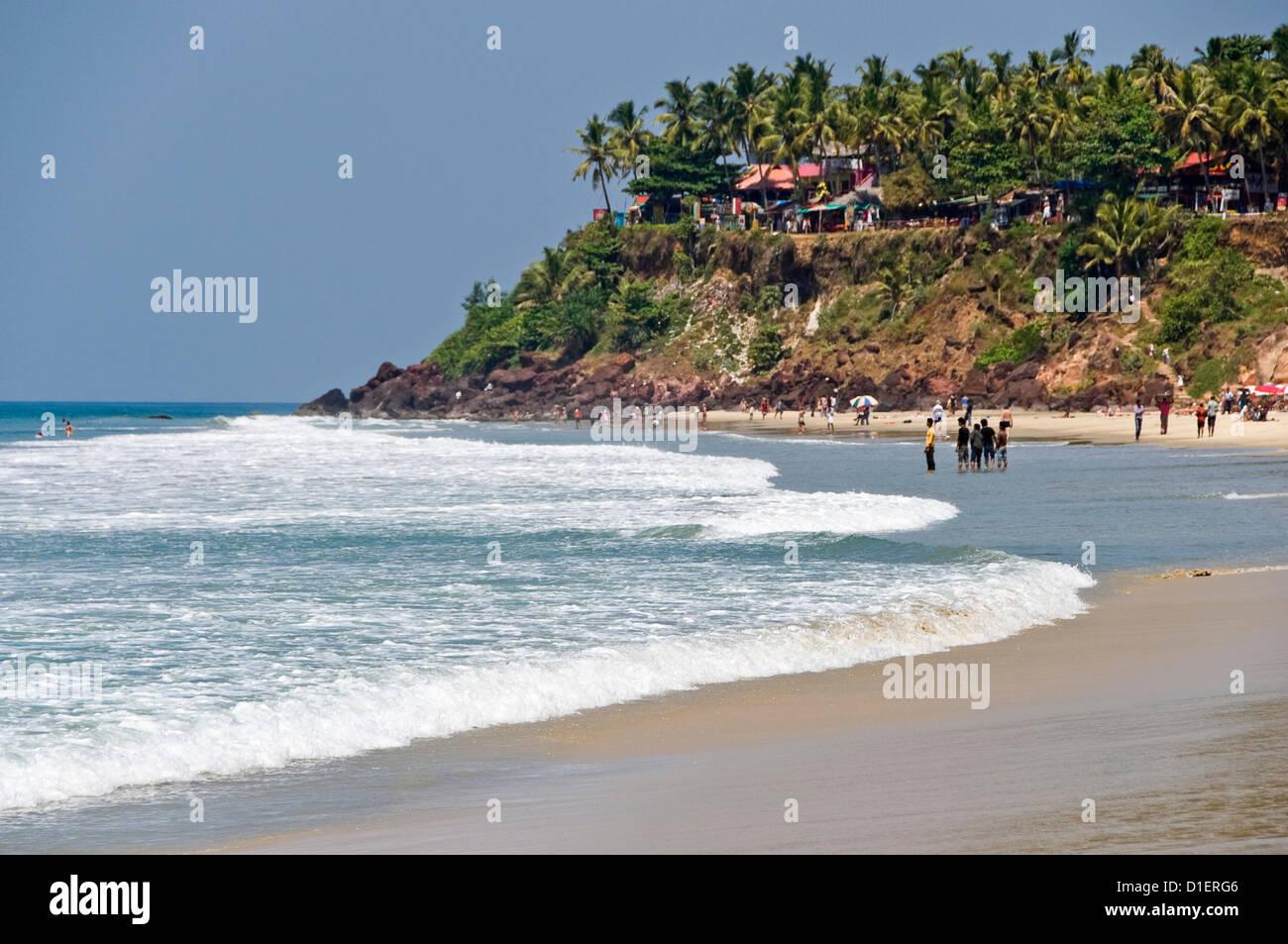 Horizontal view of the unique cliffs on Papanasam beach at Varkala, Kerala. - Stock Image