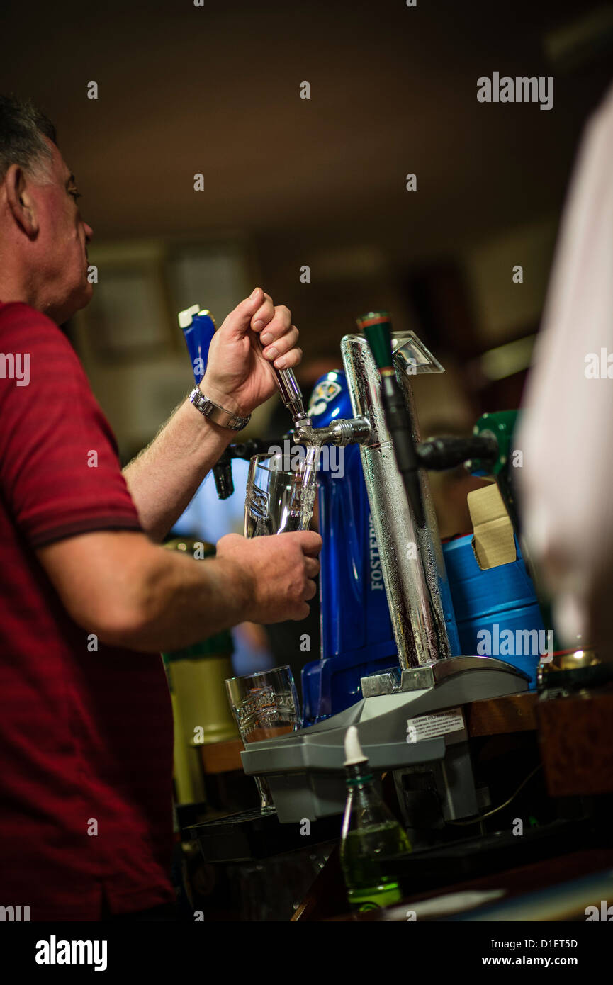 A barman pulling a pint of cold lager on a Saturday night, in a working mens club, UK - Stock Image