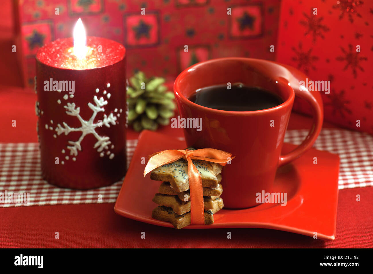 Christmas Coffee With A Set Of Cookies Stock Photo Alamy