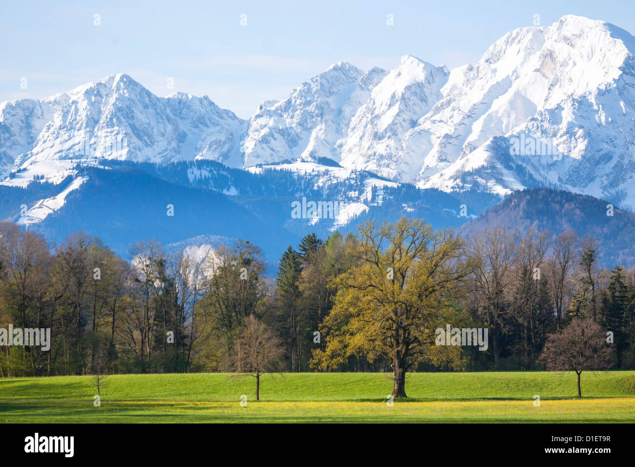 View from Salzburg to Hoher Goell, Berchtesgaden Alps Stock Photo