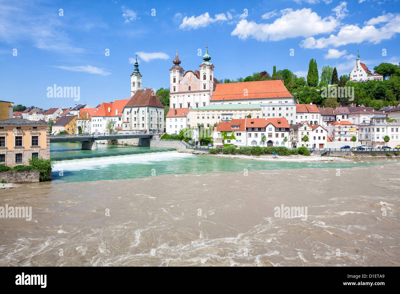 Confluence of rivers Steyr and Enns in Steyr, Austria - Stock Image