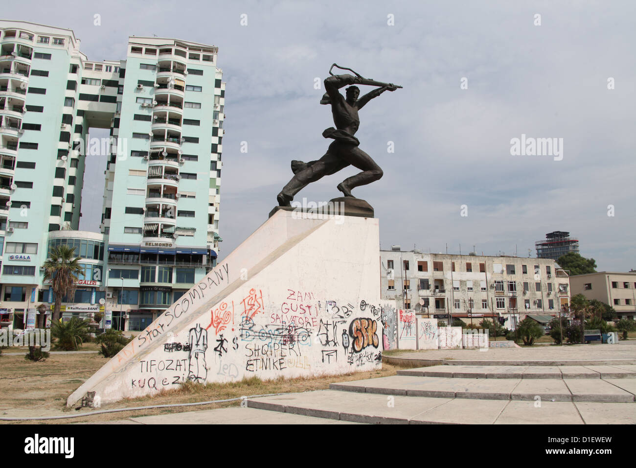 Landmark Socialist Realism Statue of a Soldier at Durres in Albania - Stock Image