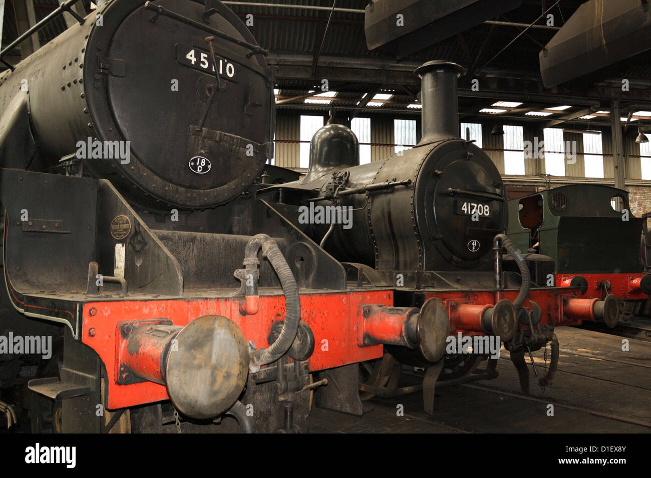 Preserved Railway Engines Inside Barrow Hill Roundhouse Stock Photo
