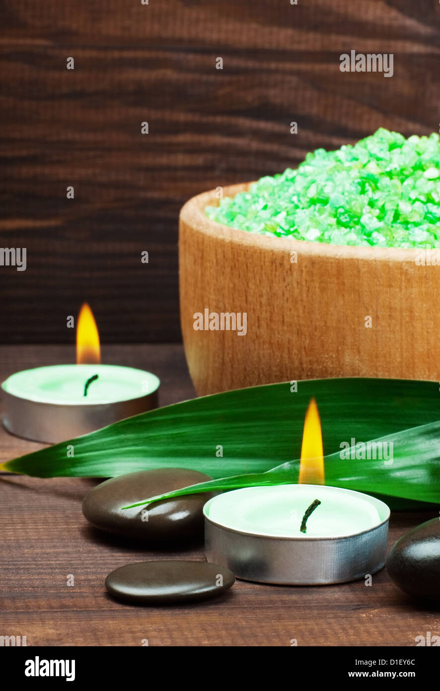 Spa still life with zen stone and bamboo - Stock Image