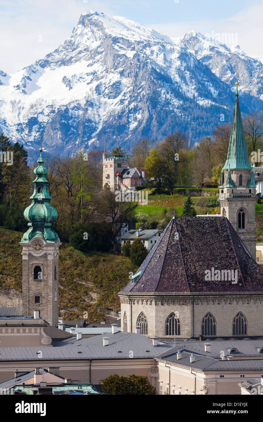 Old tow of Salzburg in front of the Untersberg, Austria - Stock Image