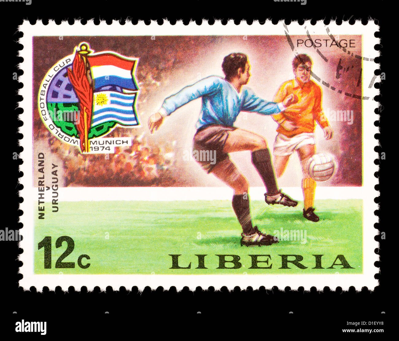 Postage stamp from Liberia depicting soccer players, issued for the 1974 Soccer World Cup in Munich. - Stock Image