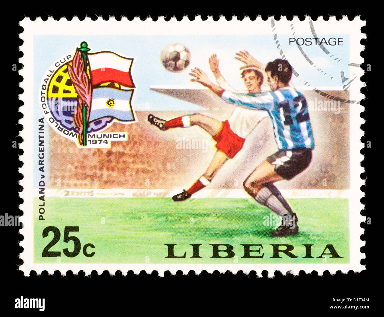 Postage stamp from Liberia depicting soccer players, issued for the 1974 Soccer World Cup. - Stock Image