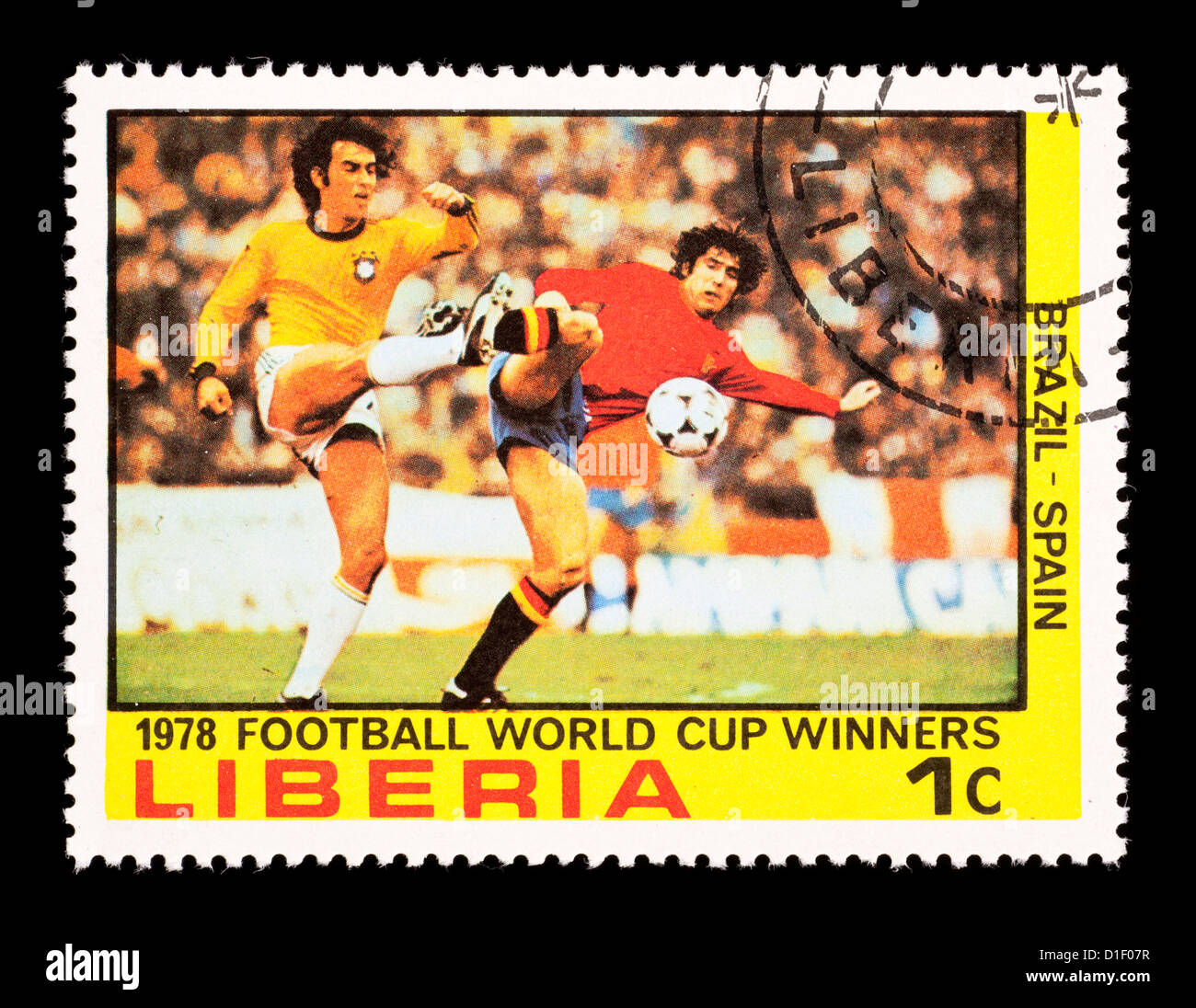 Postage stamp from Liberia depicting the soccer players, issued for the 1978 Football World Cup. - Stock Image