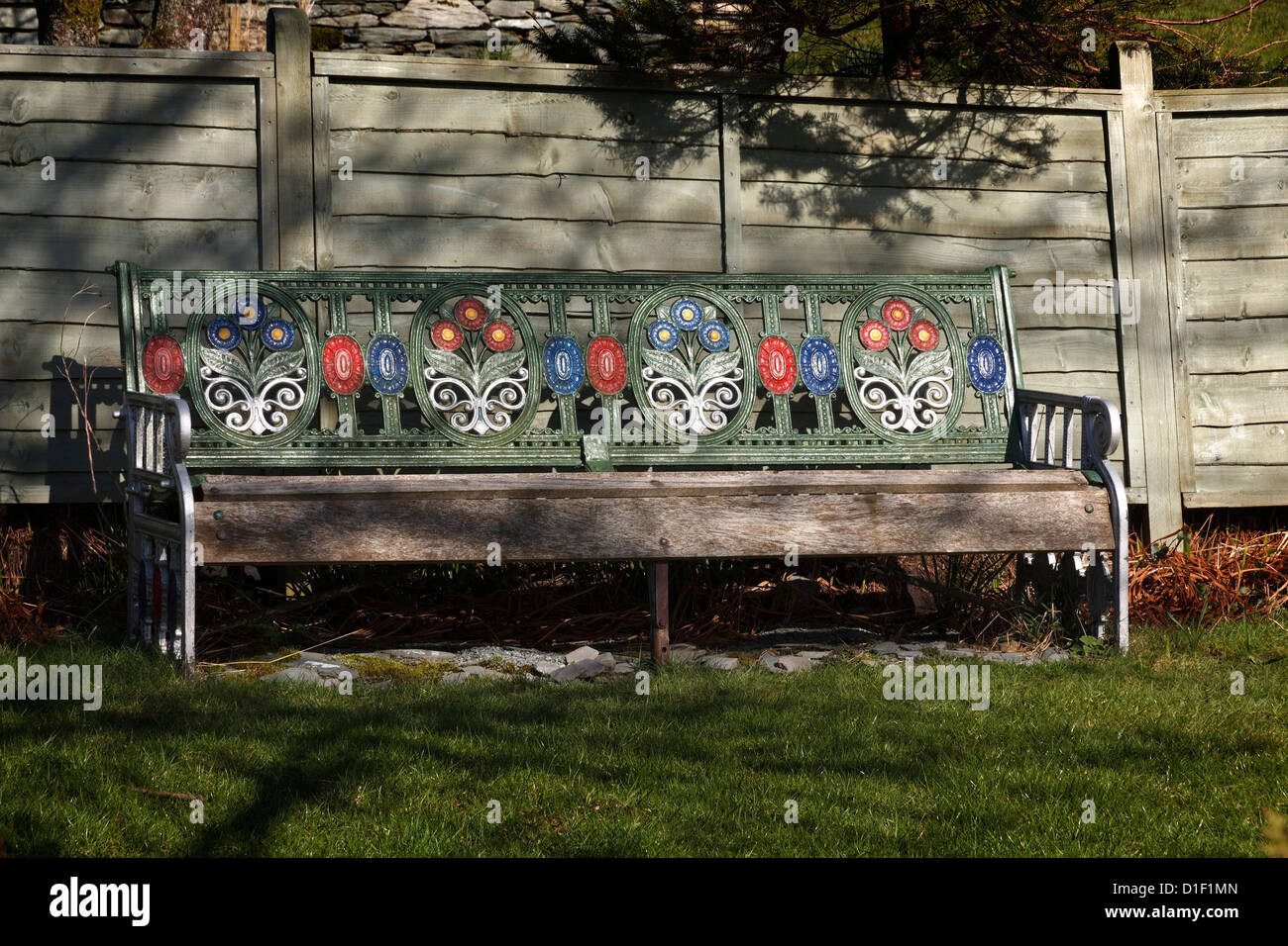 Old Ornate Floral Painted Cast Iron Metal And Wooden Garden Bench Seat,  Cumbria, England