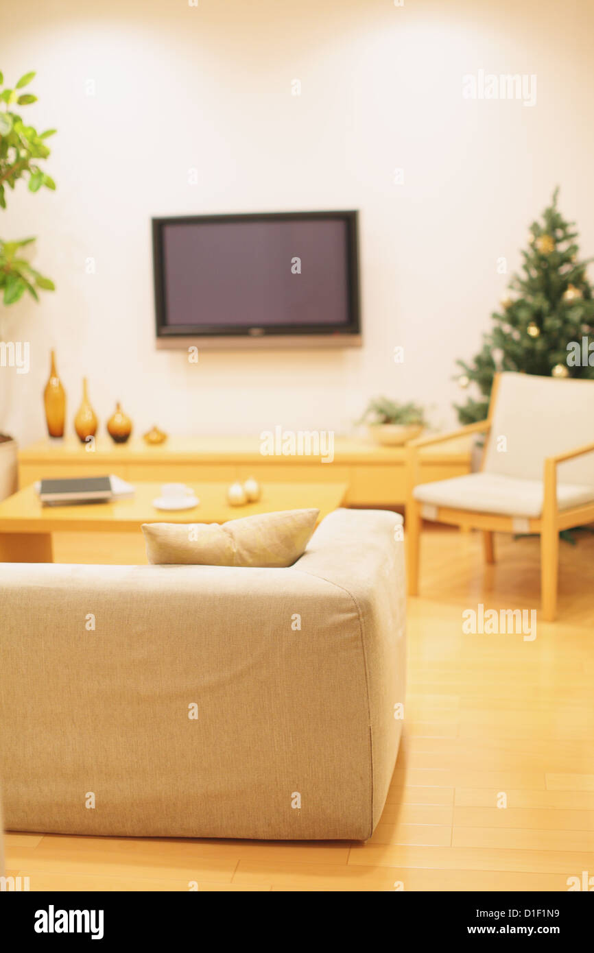 Living room with furniture, LCD TV on the wall and a Christmas tree ...